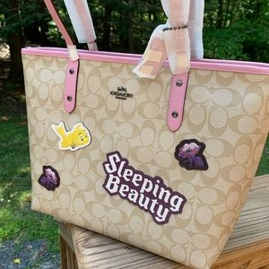 Authentic Coach leather Disney L.Edition zip tote